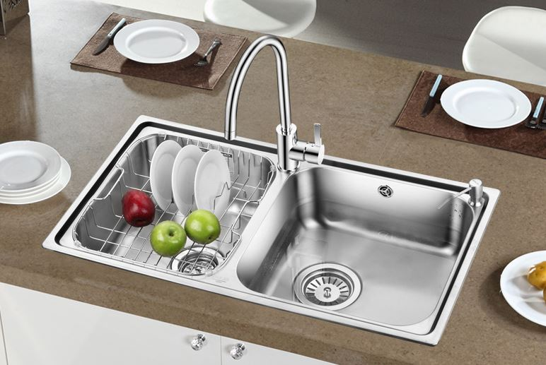 Free shipping kitchen sink dual slot 83460 kitchen wash dishes double trough 304 stainless steel sink dishes wash dishes(China (Mainland))