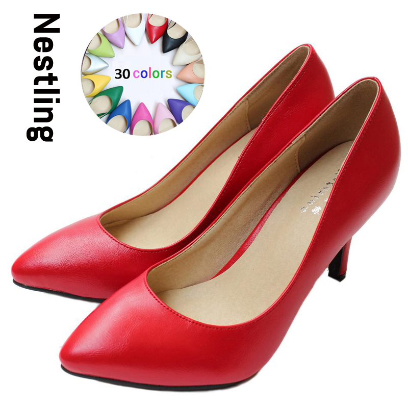 New 2016 Women s High Heels Women Pumps Sexy Bride Party Thin Heel Pointed Toe Sheepskin