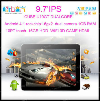 """discount shipping 9.7"""" IPS Andriod 4.1 Dual Core dual camera Capacitive Tablet PC 1.6GHz1 gb ram 16GB hdd WIFI Cube U19GT"""