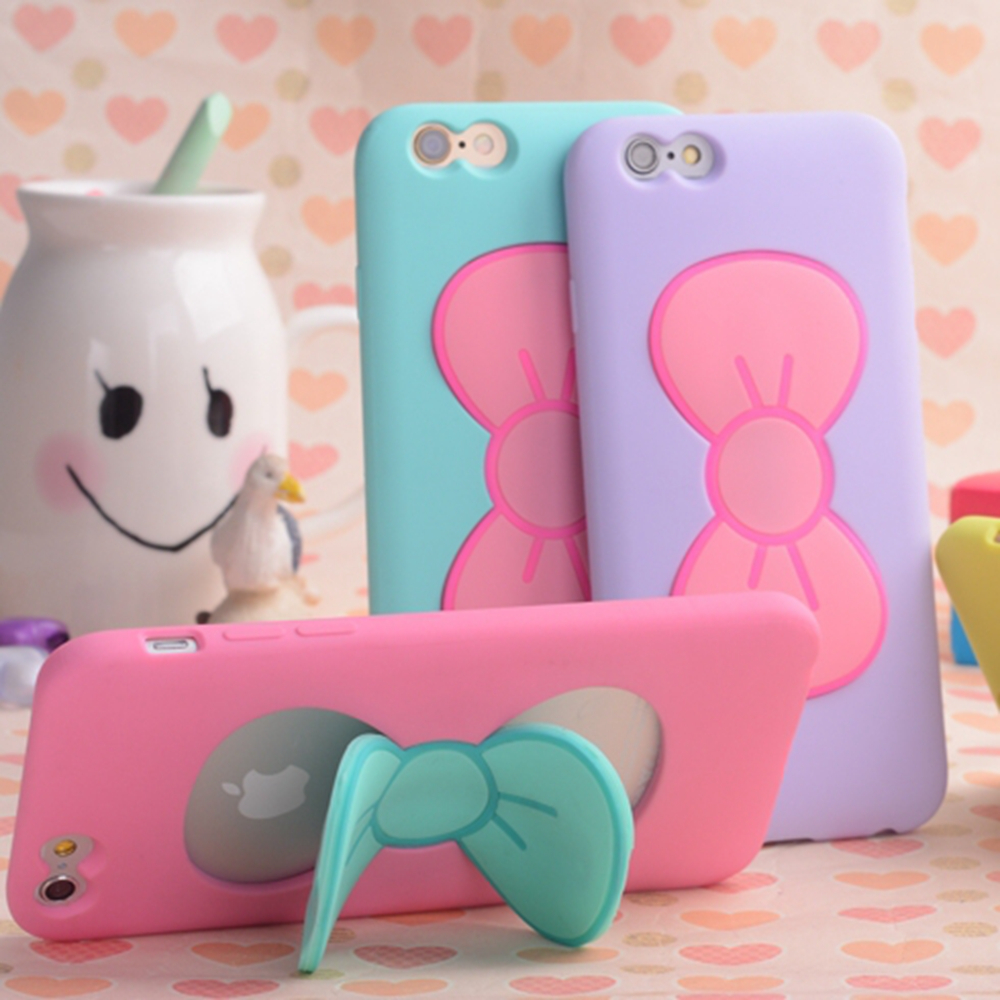 Candy Color Cute 3D Butterfly Bow Silicon Case For iPhone 6 6S For iPhone 6S Plus 6+ 4 4S 5 5S Stand Holder Mobile Phone Cover(China (Mainland))