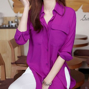 New Vogue Women Long Sleeve Chiffon Shirt Turn-down Collar Solid Loose Top Blouse