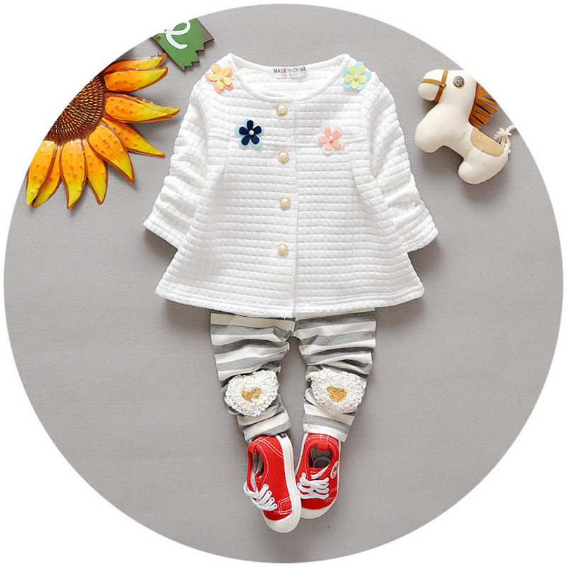 Baby Sets Baby Girls Clothes 2016 Spring Fashion Newborn Baby Floral Clothing Set 3-24M Cotton Full Clothing With Pants V30(China (Mainland))