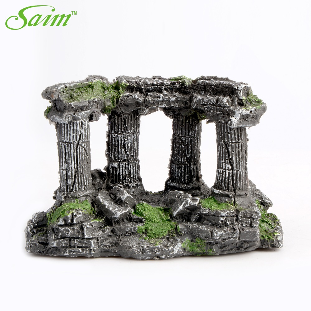 Fish tank decorations zombie - Stone Greek Temple With 4 Pillars Fish Tank Aquarium Artificial Decoration Aquarium Decorative Accessories Supplies Ornaments