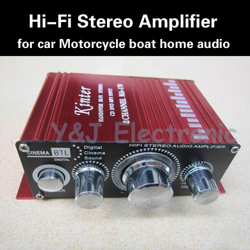 2 Channel Mini HiFi Audio Stereo Conputer Car Motorcycle home audio Amplifier Loud speaker power supply - Y&J Electronic store