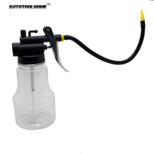 Hot Sale 250cc Transparent High Pressure Pump Oiler Lubrication Oil Can Plastic Machine Oiler Grease 245mm Length flex Gun