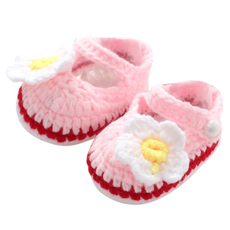 2016 belle nouveau - né bébé filles enfants Prewalker semelle souple chaussures Crochet à tricoter chaussures Infant Toddler princesse première Walkers L(China (Mainland))