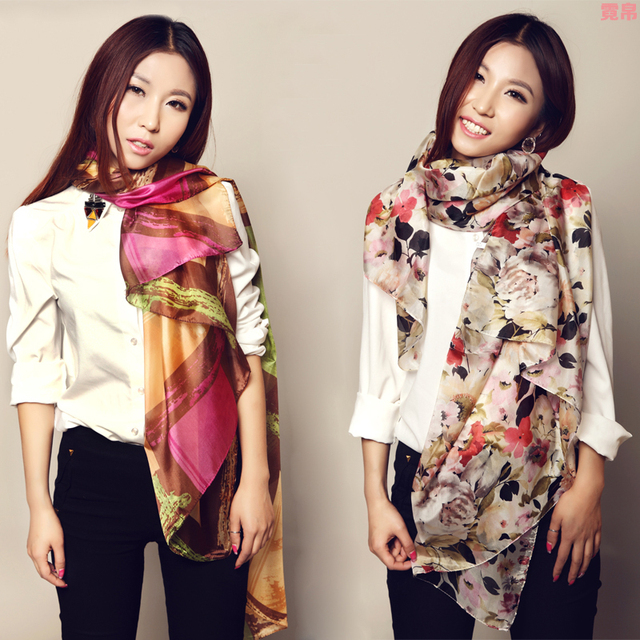 Mulberry silk silk scarf ultra long sun-shading sunscreen cape scarf
