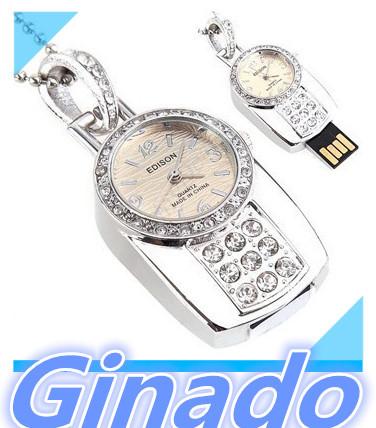Jewelry Diamond Watches USB 1GB 8GB 16GB 32GB 64GB Memory Stick Business USB 2.0 Flash Pen Drive Gift Flash Drive(China (Mainland))