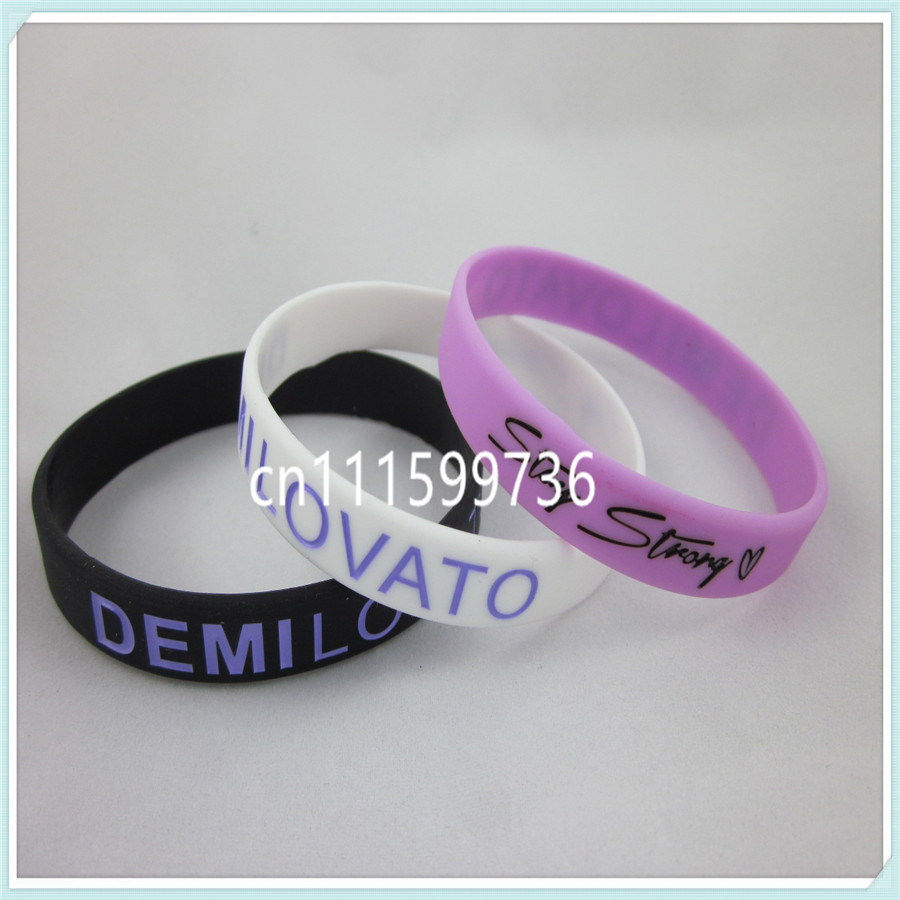 1PC, Free shipping! Stay Strong Demi Lovato Wristband, Adult size, 202x12x2mm, Silicon Bracelet, 3Colours(China (Mainland))