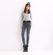 Winter models plus thick velvet jeans female elastic waist pants feet dark trousers