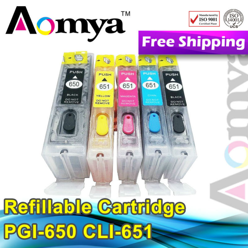 Excellent quality good service PGI-650 CLI-651 refill ink cartridges use for Canon MG6360 printer with rest chips 2set/lot<br><br>Aliexpress