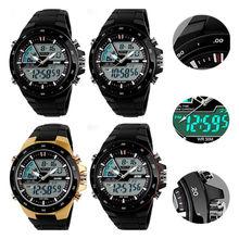 Nuevo estilo de moda S-shock para hombre impermeable alarma LCD Digital fecha analógico reloj del deporte militar
