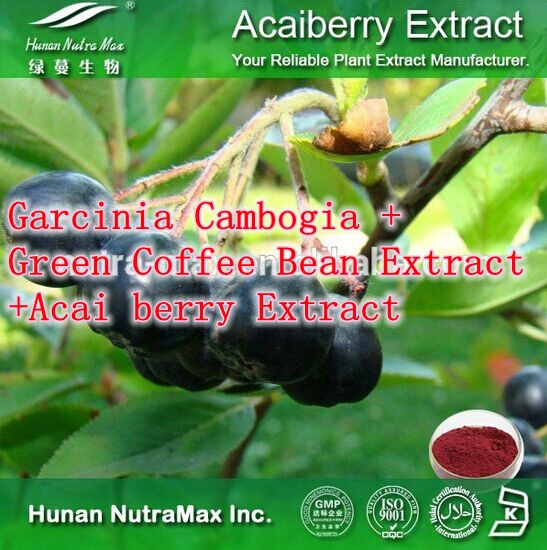 Natural Weight Loss Ingredients Garcinia Cambogia Green Coffee Bean Extract Acai berry Extract 500mg x 300caps