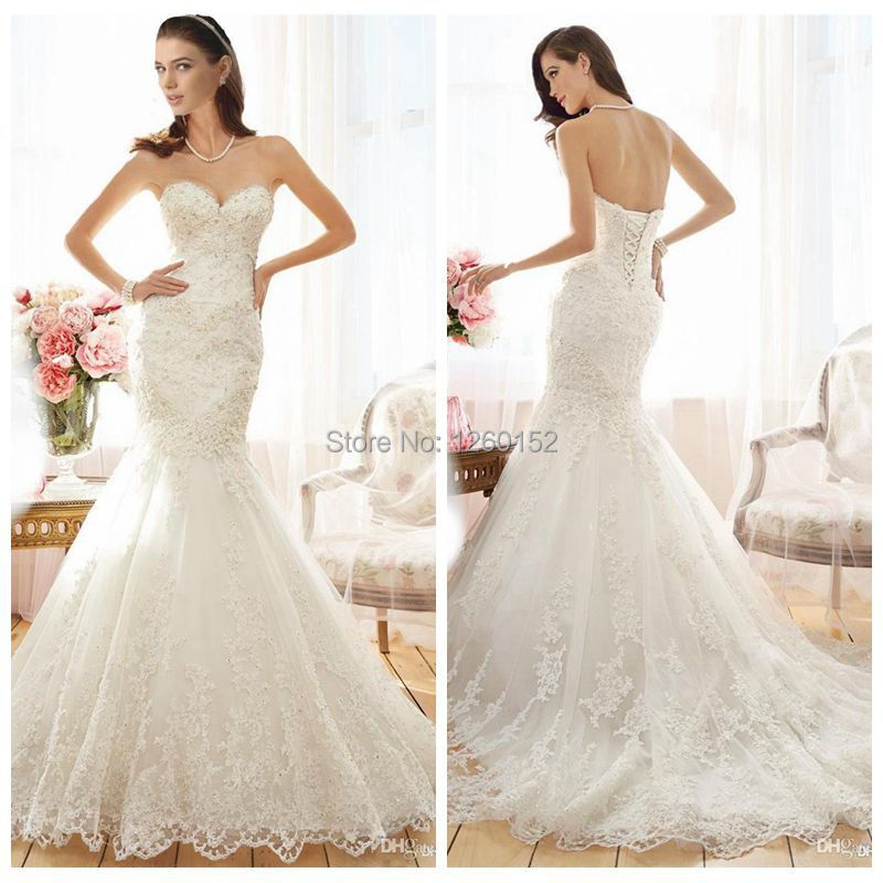 Aliexpress Buy Strapless Sweetheart Neckline Rhinestone Wedding Dresses Mermaid Style 2015