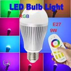 9W E27 Wireless RF 2.4G Group Division 4-channel Remote Control Bulbs RGB LED Bulb Lamp High Power 9 Watt Light 9leds Lighting(China (Mainland))