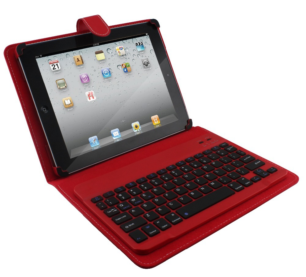 PU Keyboard Case With Wireless Keyboard For 9 And 10 Inch Tablet 4 Color +bluetooth Keyboard