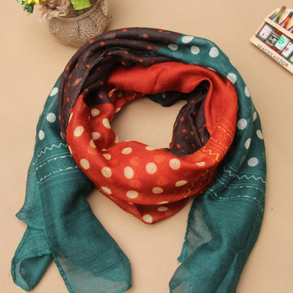 Child Kids Baby Scarf Polka Dots Pattern Voile Scarves Shawls Neckerchief 2-12Y(China (Mainland))