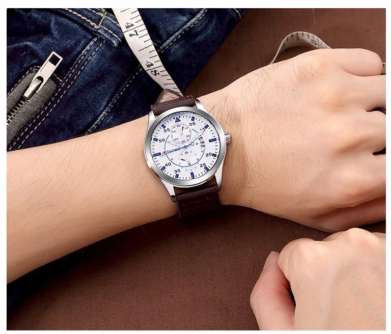 LONGBO Luxury Brand Мужчины Натуральная Кожа Смотреть Мужчины Военно-Спортивный Календарь 3Bar Водонепроницаемый Наручные Часы Relogio мужской 80202
