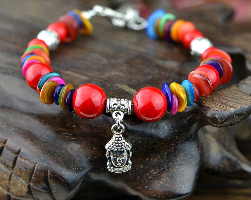 0950 wind original handmade jewelry wholesale women's head of security and peace Tibetan Buddhism Tibetan silver bracelet SL214