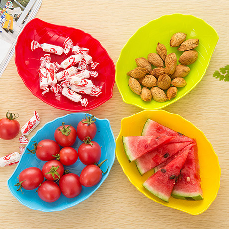 5PCS Home Supplies Colorful Tableware Plate Creative Fruit Plate PP Tray Snacks Dishes Saucer Snack Tray Fruit Tray Cute Plates(China (Mainland))