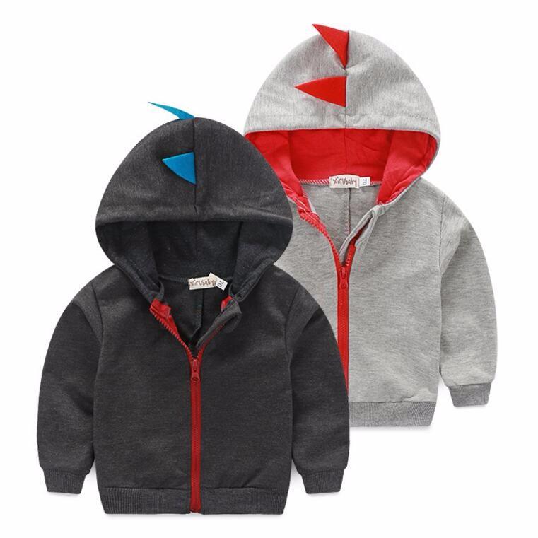 2016 New Autumn retail Fashion 6-24m baby hoodies 1piece baby clothing dinosaur animal baby boy sweatshirt baby coat(China (Mainland))