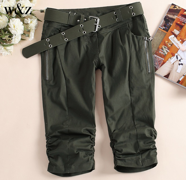 W&Z Fres shipping fashion women's casual pants women's summer camouflage Five minutes of pants five plus cotton(China (Mainland))