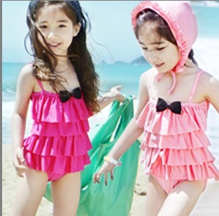 2014 Child swimwear female one-piece dress child multi-layer baby hat - Brands Online Famous bag store