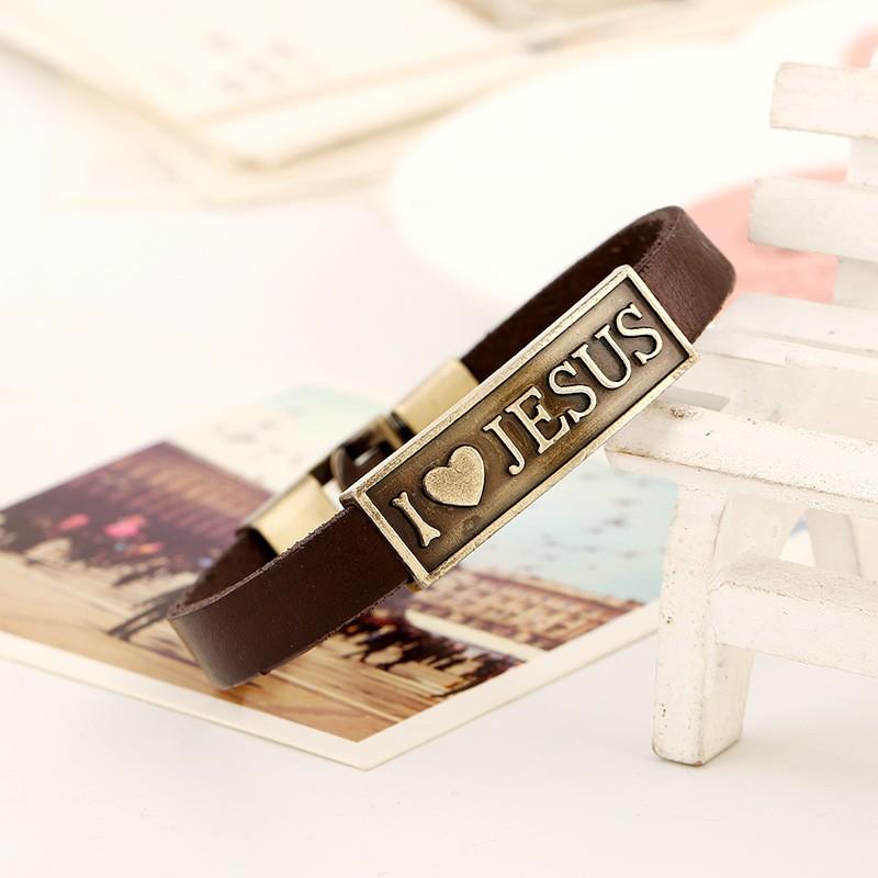 Bp-js 2016 новинка монограмма письмо я люблю иисуса браслет мужской молитва христианской Braclet кожа женщины ювелирные изделия LB093
