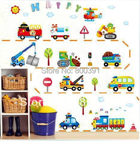 XY8105 Cartoon Traffic Wall Sticker Removable Child Room Decor PVC Happy Toy Viynl wall stickers, per set - EMILYGU KIDS FASHION STORE store