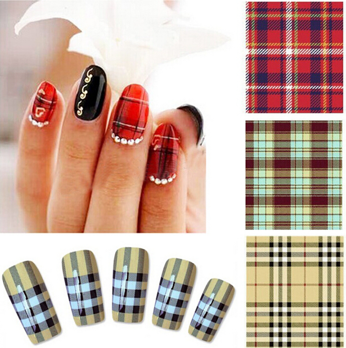 Free shipping 2015 new water transfer nail stickers popular plaid stripes nail sticker(China (Mainland))