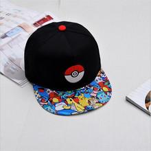 Japanese Famous Animation Cartoon Comic Cute Lovely Pokemon GO Pocket Monster Pikachu Flat Snapback Caps Hat for Adult Men Women(China (Mainland))