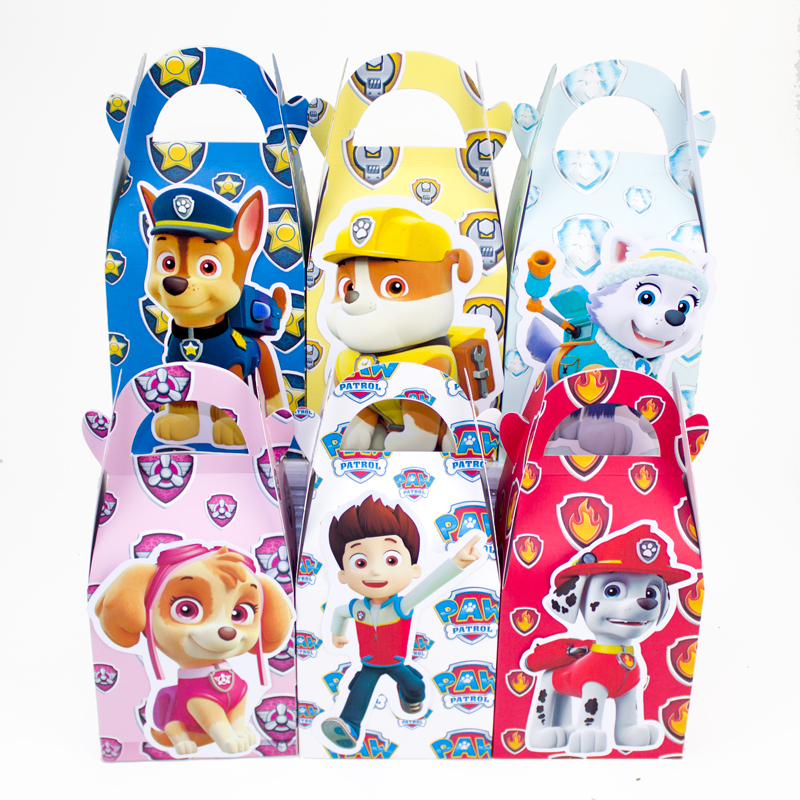 Paw Patrol Favor Box Candy Box Gift BoxCupcakeBox Boy Kids Birthday Party Supplies Decoration Event Party Supplies(China (Mainland))