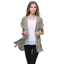 Women Elegant Linen Blouse Short Sleeve Plus Size Batw Sleeve Cardigan Sweater Summer Style Thin Casual Feminino Blouses SPJ009(China (Mainland))