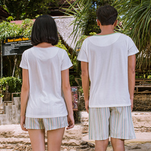 Male and female song Riel casual cotton pajamas cartoon couple home service package sweet comfort happy