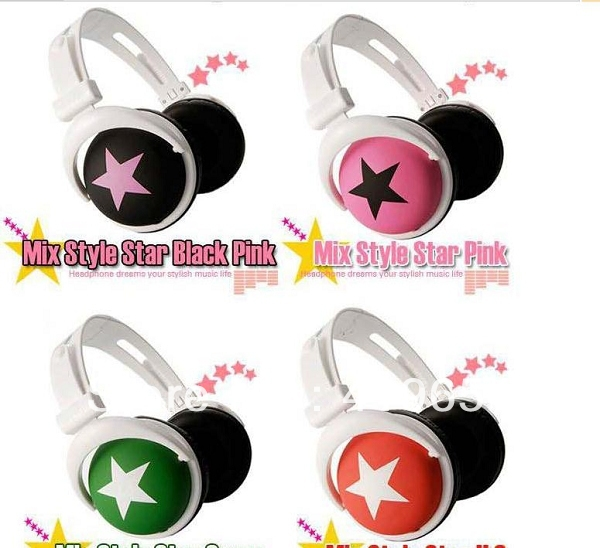 DHL Free Shipping 100pcs/lot Star Stereo Headphone Headset Earphone Mix Style With Retail Package Many Colors Best Choice(China (Mainland))