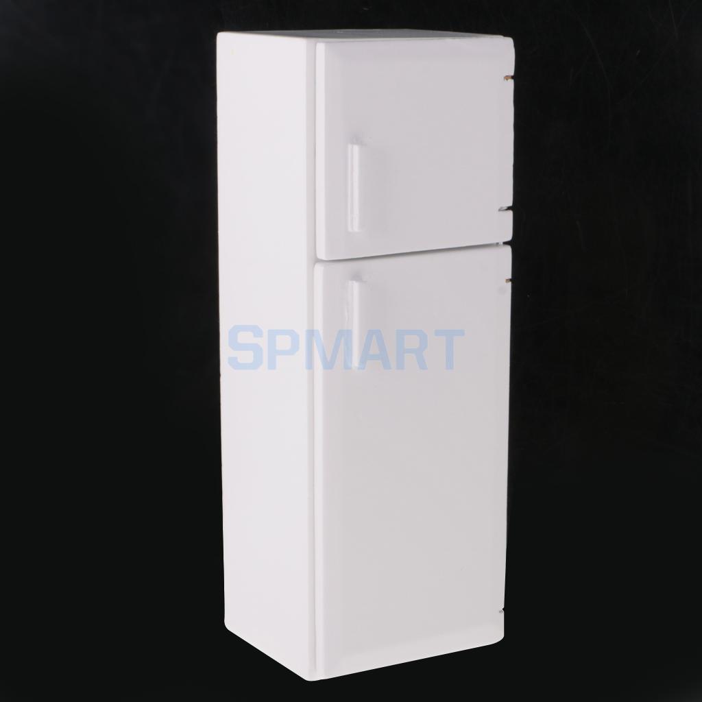 1/12 Dollhouse Miniature 2 Door Fridge Refrigerator Freezer White Wooden Kitchen Furniture Kids Pretend Play Toy