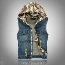 2015 Camouflage Color Hooded Men Blue Jeans Vest Tops Sleeveless Jeans Jacket Denim Tops Blue Size M-XXL Free Shipping(China (Mainland))