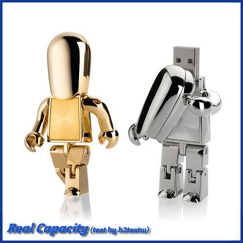 free shipping mini pen drive16GB 4GB pendriver metal robot usb flash drive cool usb stick(China (Mainland))