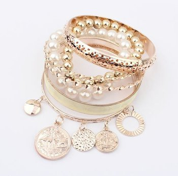 B116 Fashion pearl hollow multilayer Bracelet !#1895