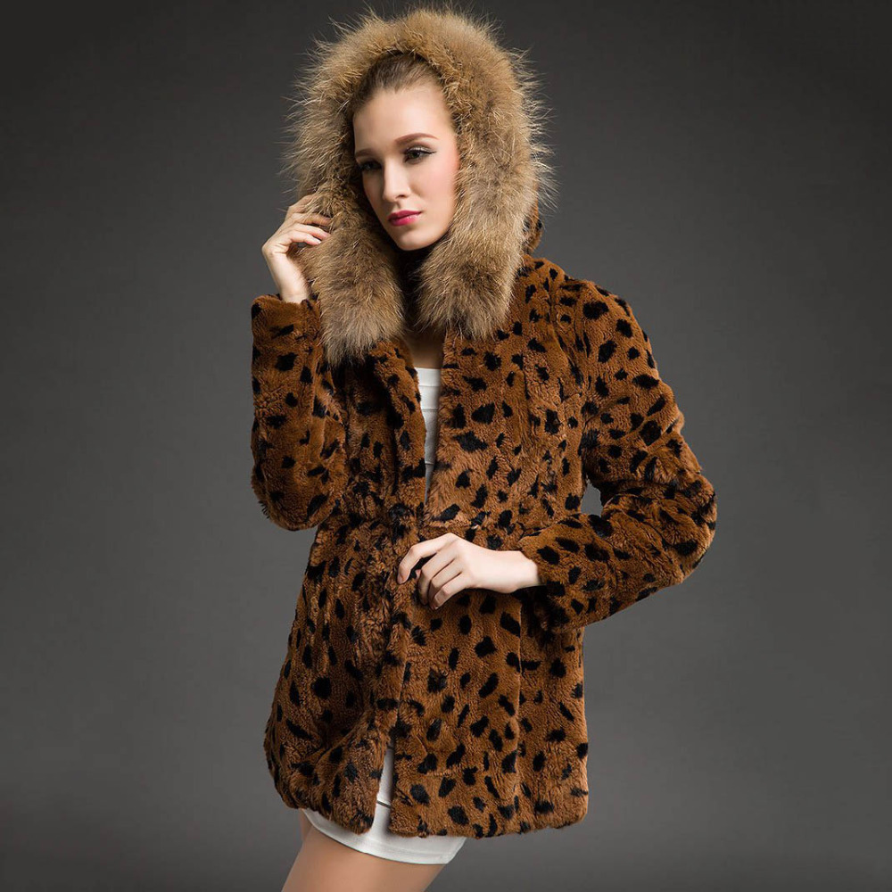 women natural rabbit fur coat hoody raccoon trim Lady Garment Plus Size Warm Winter overcoat black leopard color belt - Small Word store