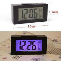 HOT SALE!!! Black& White Digital LED Snooze Alarm Date Desk Clock LCD Screen Display Backlight Sensor  80323-80324