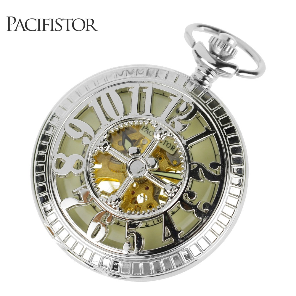 INFANTRY Mens Pocket Watches Luminous Silver Mechanical Hand-Wind Hollow Carving Pocket Watch Pendant Necklace Stainless Steel(Hong Kong)