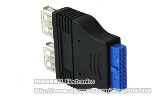 20 Pin Motherboard Female to 2 Type-A Female 2 Port Panel Mount USB 3.0 F/F Adapter/Free Shipping/1PCS(China (Mainland))