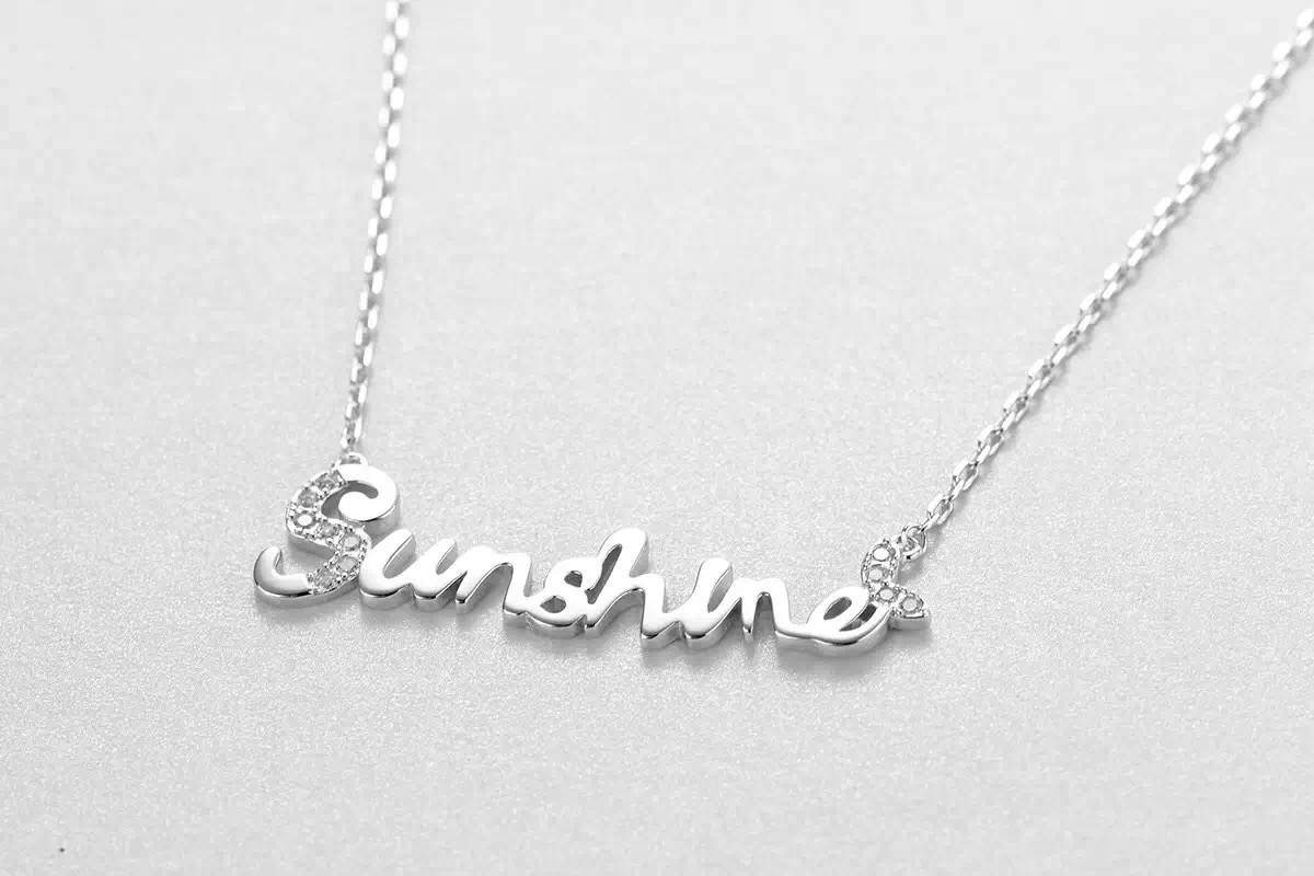 Free Shipping 2016 Fashion Jewelry 925 Sterling Silver The Letter Sunshine Female Clavicle Necklace The Girl A Gift(China (Mainland))