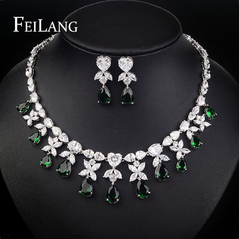 FEILANG 2015 New Arrival Royal Leaf With Green Pear Shape Cubic Zircon Diamond Wedding Jewelry Sets For Women FSSP020(China (Mainland))