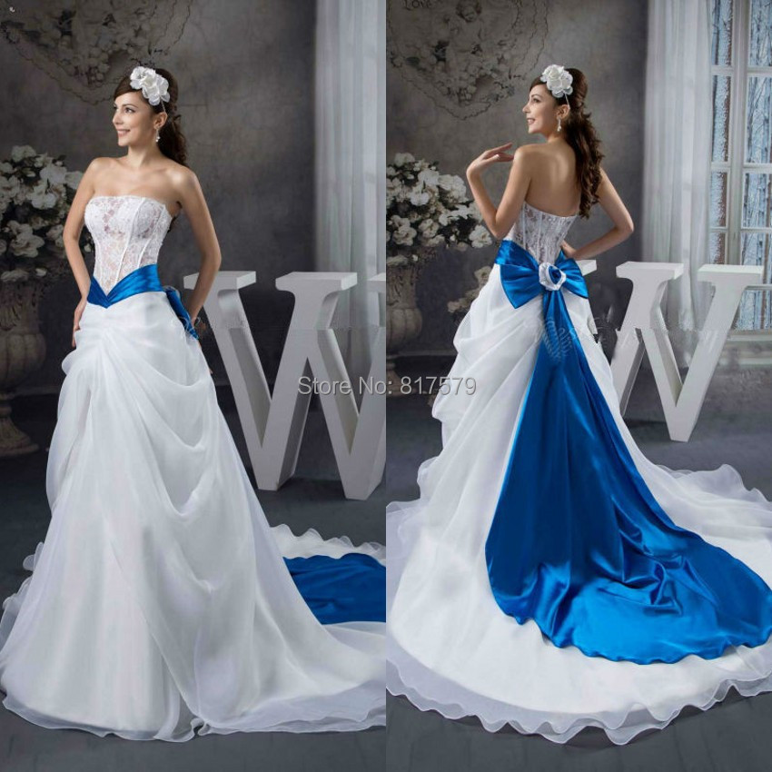 White Wedding Dresses With Royal Blue : Bwd royal blue and white wedding dresses in from