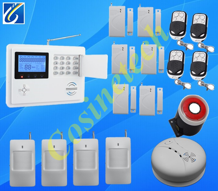 99 Wireless 4 Wired defense zones quad-band gsm Dual network home anti-theft GSM PSTN alarm system+6 door SENSOR+4 PIR sensor