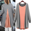 2016 women autumn fashion Chiffon Cotton tops Long Style O Neck Full Sleeve Solid Casual T
