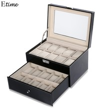 HOMDOX 20 Grid Slots Jewelry organizer Watches Boxes Display Storage Box Case Leather Square jewelry