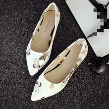 Retro Vintage Cartoon Buttlefly Flower Print Flats Zapatos Mujer Pointed Slip Women's Shoes Creative Ladies Chaussure Femme - HappyShoes Shopping store